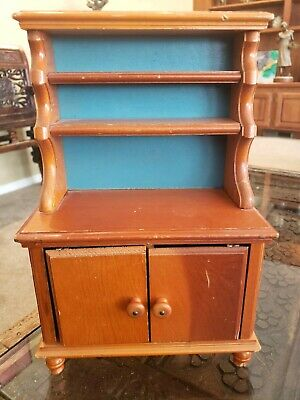 Vintage Wood Wooden Child's Doll Furniture Cabinet Hutch Dish Display Toy
