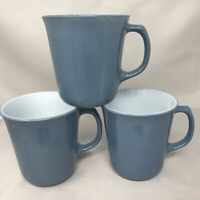 Set of 3 Slate Steel Blue Pyrex Coffee Cups Mugs 'D' Handle Milk Glass Corning