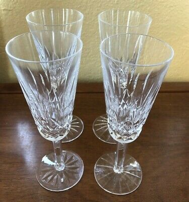 """Set of 4 Waterford Lismore Fluted Tall Champagne Glasses Stems 7 1/4"""""""