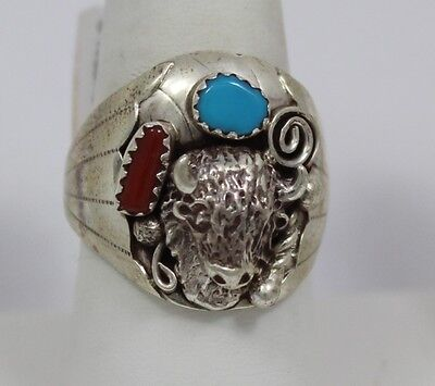 Navajo Indian Ring 50% Off Buffalo Size10-1/2 Coral Turquoise Sterling Grace Smi