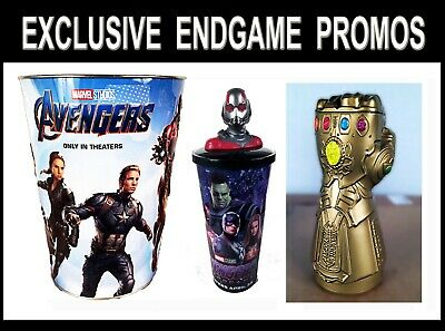 Marvel Avengers Endgame Movie Theater Exclusive Promo Topper Cups + Infinity Cup