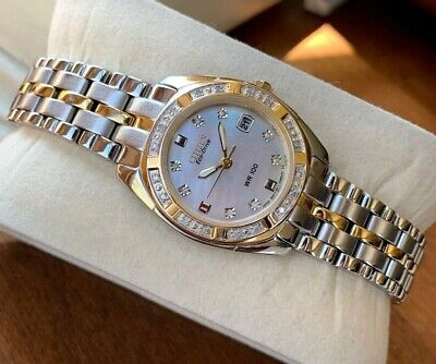 Citizen Eco-Drive Women's EW1824-57D Watch Diamond Accent Two Tone MOP Dial WR