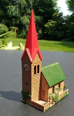 Vintage HO Train Charming European Stone Church Red Spire Clock Trees Faller?