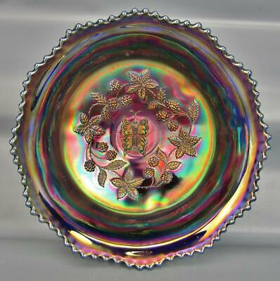 """Fenton BUTTERFLY & BERRY Blue Carnival Glass Footed 9½"""" MASTER Berry Bowl 6596"""