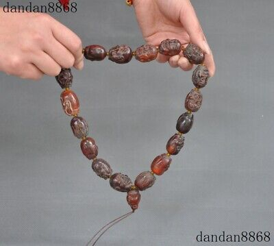 Rare Chinese old Ox horn carved 18 arhat buddha head Pray beads amulet necklace