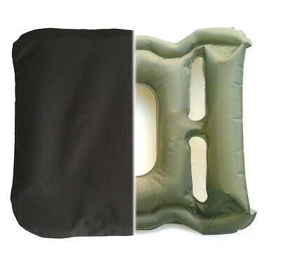 Blow Up Pressure Relief Travel Cushion WITH COVER. Design/Made UK. NOT Cheap PVC