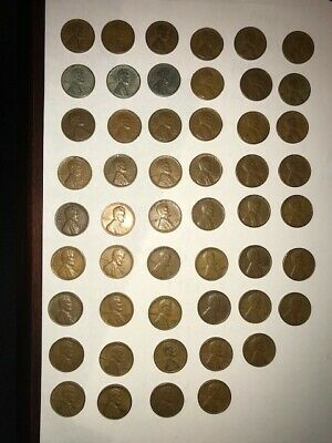 Lincoln Wheat Penny Cent Collection 1941-1958, complete 51 coin set