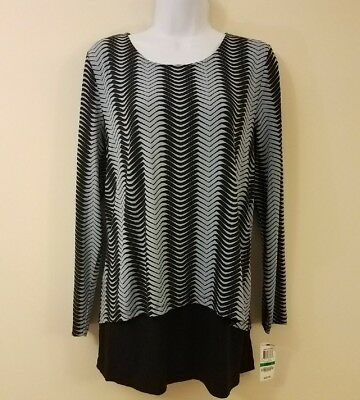 d142574609 Alfani Blouse Blue L Striped Long Sleeve Pullover Crew Neck Large Womens New