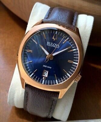 Bulova Accutron II Men's Watch 97B133 Blue Dial Leather Date Rose Gold Sweep WR