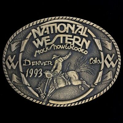 Vtg NOS National StockShow Cowboy Western Rodeo Bucking Horse Brass Belt Buckle