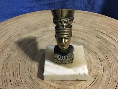 VINTAGE Egyptian Queen Nefertiti Head Statue Decor Onyx Marble Stone Base Brass