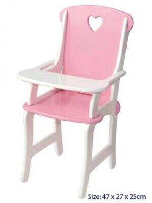 Brand New Fun Factory Toys Dolls White Pink Wooden Highchair high chair Timber
