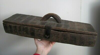 LARGE Antique 19th Century Tribal AFRICAN hand carved WOODEN wood BOX w handle