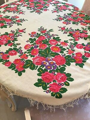 Vintage  Piano Shawl Ivory with Bright Pink and Purple Flowers w/ Fringe