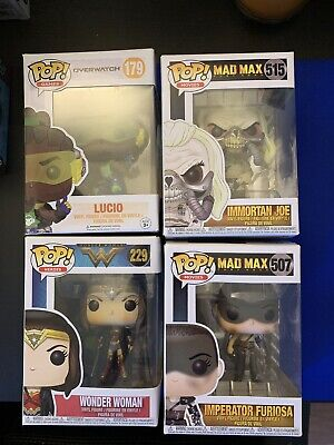 Funko Pop! Lot Of 4 Marvel DC Mad Max Overwatch DC Wonder Woman Lucio