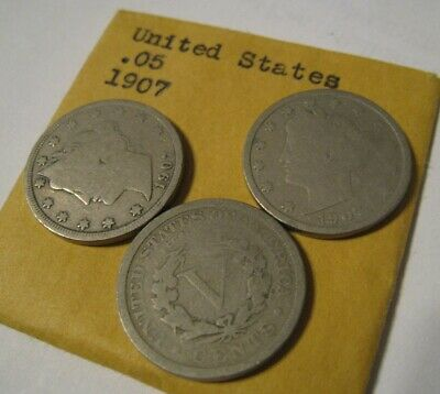 Lot Of 3 1907 Liberty Head & V Nickels 5 Cent Coin Good Condition Circulated #9