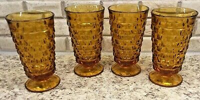 Amber Iced Tea Glasses Whitehall Colony Indiana Glass 4 PC Set Footed 14 oz Vtg