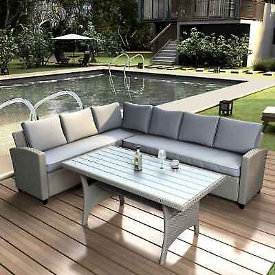 Rattan Wicker Set Outdoor Patio Furniture Sectional Sofa Dining Table W/ Cushion