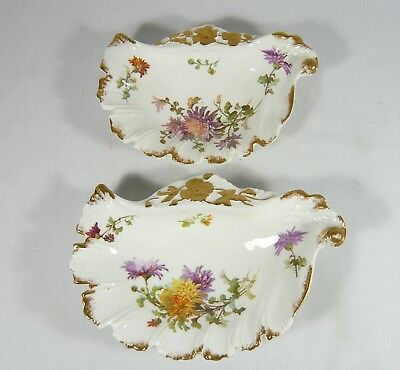 2 Antique Hammersley Oyster Shell Shaped Bone Dessert  Plates c1895