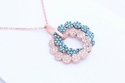 Turkish Jewelry Double Ring Turquoise Topaz Rose 925 Sterling Silver Necklace