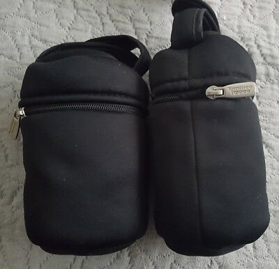 2 X Tommee Tippee Thermal Baby Bottle Holders Black Vgc
