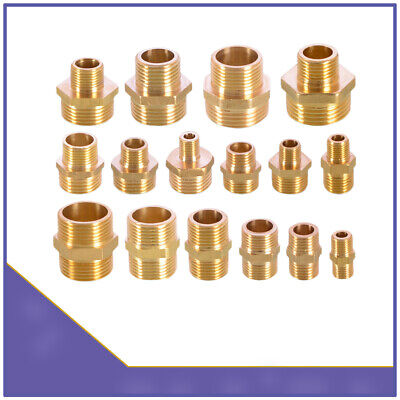 Male to Male BSP Thread Hex Nipples Equal Straight Reducing Brass Connector