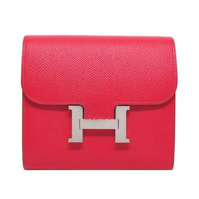 fd9cde430acd HERMES Constance Compact Wallet Purse Rose extreme Red Pink Epsom Leather