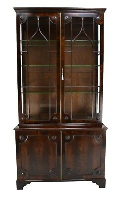 Large Late Victorian Antique Mahogany Bookcase / Display Cabinet Circa 1900