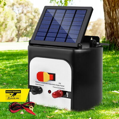 8KM Waterproof Solar Powered Fence Energiser Electric Compact Farm Fencing