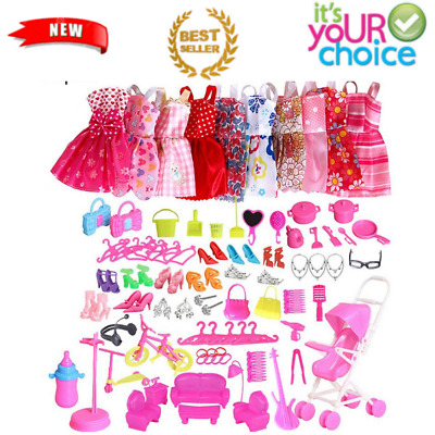 85 Pcs Doll Clothes Huge Lot Gown Outfits Party Accessories Fashion Barbie Girl