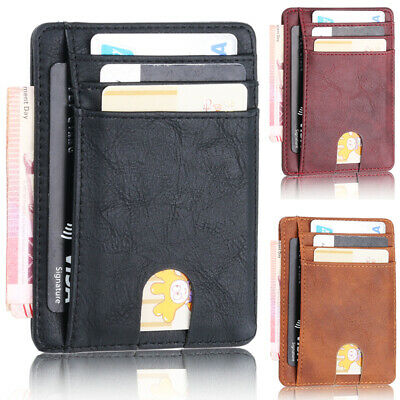 Credit Card Case Leather Wallet Mens Blocking Slim Money Clip RFID Holder Pocket