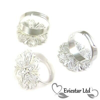 Silver Plated Adjustable Brass Filigree Ring Blank Lead Free RB-2