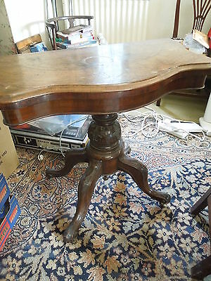 19th Century Burr Walnut demi-lune oval fold over card / games table