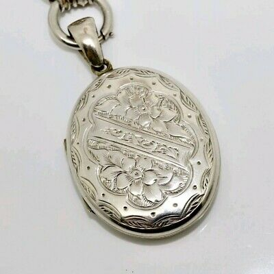 A Fine Antique Victorian Sterling Silver 925 Engraved Floral Locket