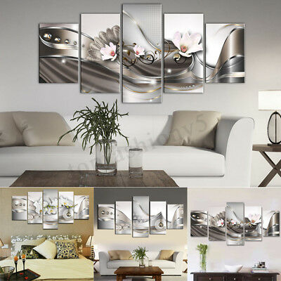 5 Panel Canvas Print Modern Picture Wall Art Decor Home Abstract Flower