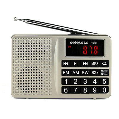 Retekess Portable FM/AM Radio Shortwave Bass Digital Display Multimedia Speaker