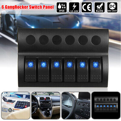 12/24V 6 Gang LED Rocker Switch Panel Circuit Breakers For Boat Marine AU