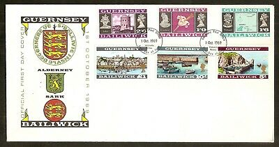 Guernesey:Complete set of 16 stamps#13/28,First day 1969,2 covers, XF
