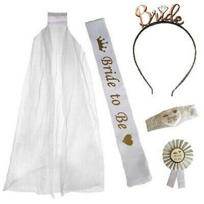 Bride To Be White Veil Garter Sash Rosette Hen Party Night Do Team Bride Kit