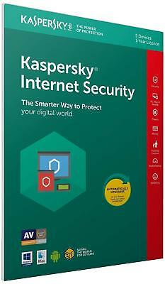 Kaspersky Internet Security 2019 5 Devices 1 Year PC/Mac/Android Code inc VAT
