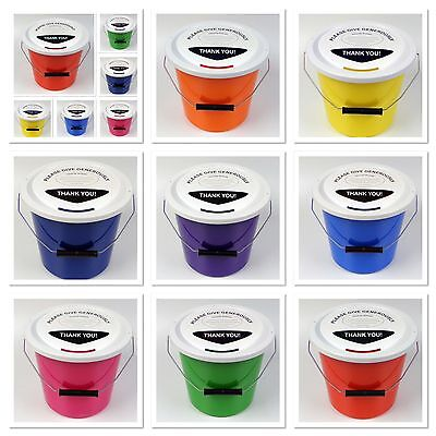 """Charity Money Collection Fundraising  BUCKET WITH LID, LABEL & TIES   """"BEST BUY"""""""