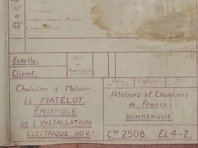 06e1 Plan Building of France Dunkerque Trawler the Sailor B1670 Sinking in 1940