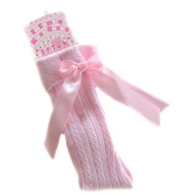 Baby Girls Ribbed Bow Knee Length Socks In Pink