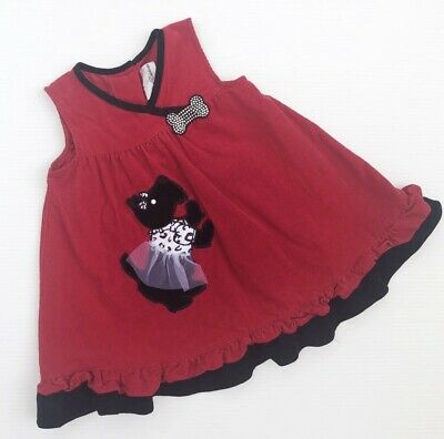 RARE EDITIONS Toddler 2T Baby Girls Embroidered Terrier Black Dog Bow Dress Red