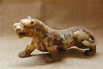 """11"""" China old antique handcarved white jade fengshui tiger statue"""