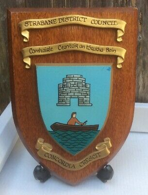 Vintage Hand Painted Northern Ireland Wall Plaque -Strabane District Council
