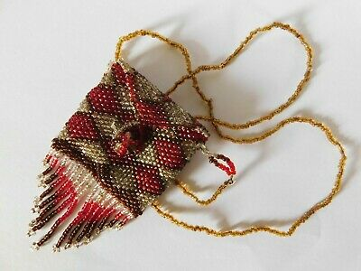 Antique 19Thc Bead Work Coin Purse / Bag With Long Bead Work Handle And Tassels