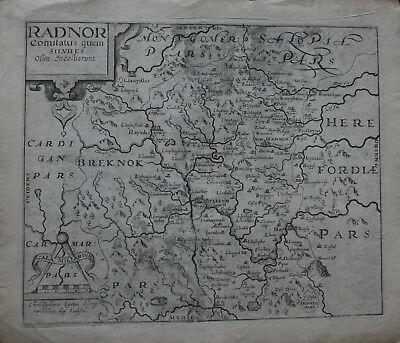 Saxton antique map of Radnor published 1610