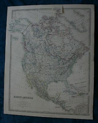 Large antique map of North America by K. Johnson published 1861