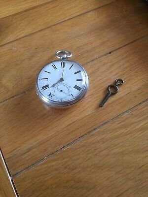 Antique Silver Pocket Watch Nice Item Working Needs A Service